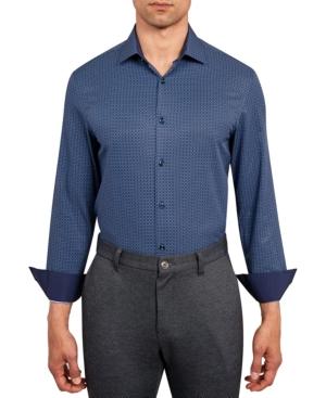 Con. Struct Men's Slim-Fit Performance Stretch Allover Medallion Print Dress Shirt
