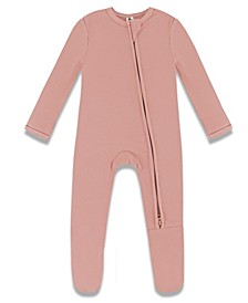 Baby Girls Viscose from Bamboo Ribbed Zip Up Footie Coverall