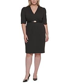Plus Size Puff-Sleeve Belted Sheath Dress