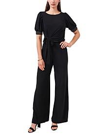 Tie-Front Embellished-Sleeve Jumpsuit