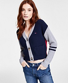Cotton Colorblocked Cropped Cardigan