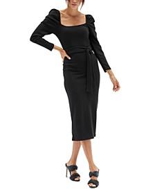 Roshni Puff-Sleeve Midi Dress