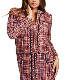 Mikaela Tweed Zip-Front Jacket
