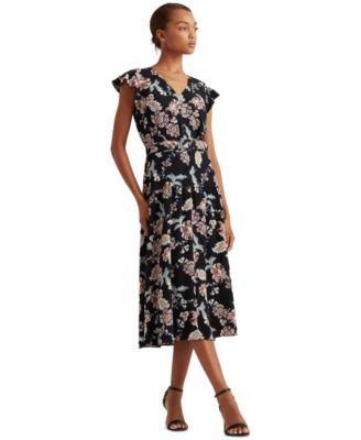 로렌 랄프로렌 Lauren Ralph Lauren Floral Belted Crepe Midi Dress,Black/garnet/multi