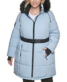 Plus Size Belted Faux Fur-Trim Hooded Puffer Coat