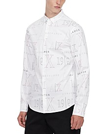 Men's Allover Logo Long-Sleeve Shirt
