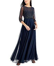 Beaded Mesh-Sleeve Gown