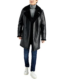 Men's Long Pleather Double Breasted Coat with Faux Shearling Cuff and Collar