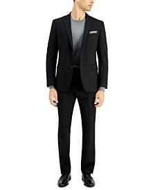Men's Slim-Fit Black Window Knit Suit