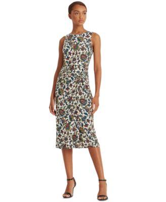 로렌 랄프로렌 Lauren Ralph Lauren Printed Ascot-Inspired Sleeveless Dress,Lemon Ivory/blue/multi