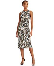 Printed Ascot-Inspired Sleeveless Dress