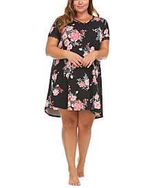 Plus Size Floral-Print Sleep T-Shirt