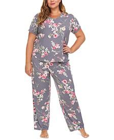 Plus Size Floral-Print Pajama Set