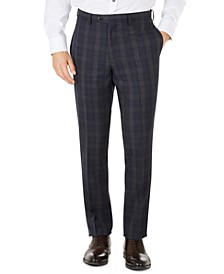 Men's Slim-Fit Navy Plaid Wool Dress Pants