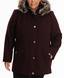 Plus Size Faux-Fur-Trim Hooded Coat
