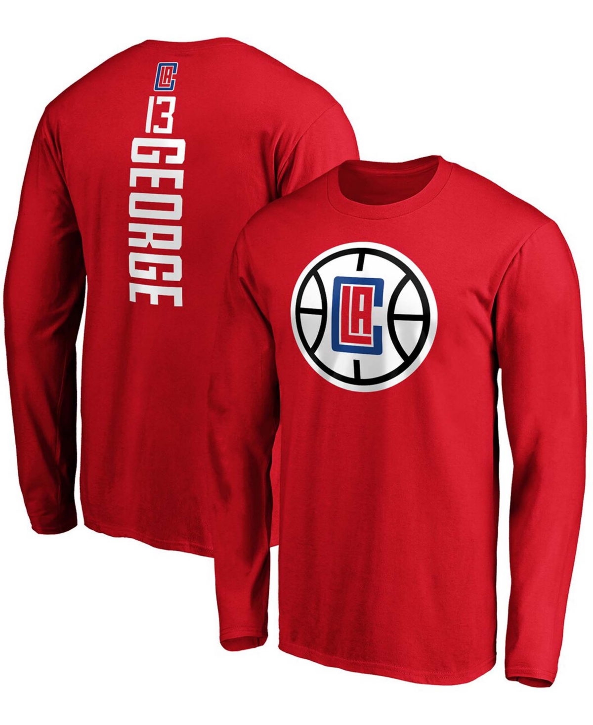 Men's Paul George Red La Clippers Team Playmaker Name and Number Long Sleeve T-shirt