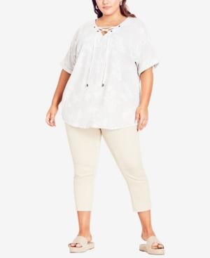 Plus Size Linen Blend Lace Up Top