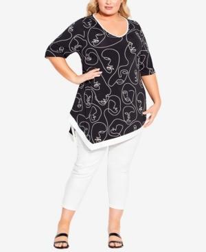 Plus Size Visage Asymmetrical Tunic Top