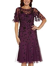 Plus Size Embellished Flutter-Sleeve A-Line Dress