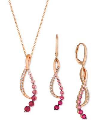 Passion Ruby (1/6 ct. t.w.), Bubblegum Pink Sapphire (5/8 ct. t.w.) & Vanilla Sapphire (1/5 ct. t.w.) Pendant Necklace in 14k Rose Gold