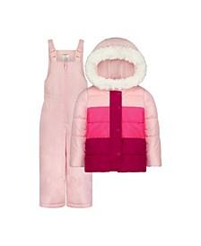 Little Girls 2 Piece Color Block Snowsuit Set with Matching Snow Bib