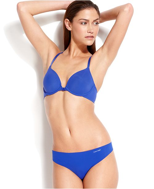 Calvin Klein Perfectly Fit Racerback Front Close Contour Bra and Invisibles Thong