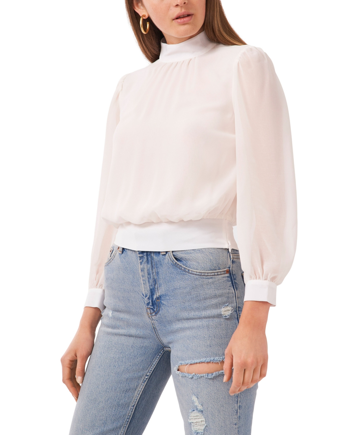 1.state Long Sleeve Cropped Mock Neck Top