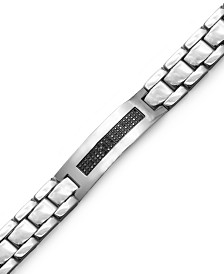 Men's Black Diamond ID Bracelet in Stainless Steel (3/8 ct. t.w.)