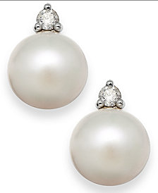 Akoya Pearl (7mm) and Diamond Accent Stud Earrings in 14k White Gold
