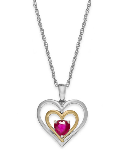 Gemstone heart pendant necklace in 14k gold and sterling silver 58 gemstone heart pendant necklace in 14k gold and sterling silver 58 ct mozeypictures Image collections