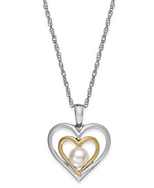 Cultured Freshwater Pearl Heart Pendant Necklace in 14k Gold and Sterling Silver (5mm)