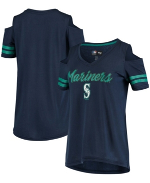 Women's Navy Seattle Mariners Extra Inning Cold Shoulder V-Neck T-shirt