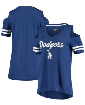 Women's Royal Los Angeles Dodgers Extra Inning Cold Shoulder V-Neck T-shirt