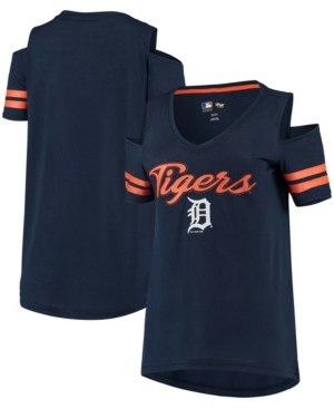 Women's Navy Detroit Tigers Extra Inning Cold Shoulder T-shirt