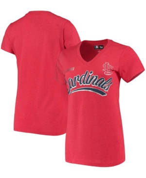 Women's Heathered Red St. Louis Cardinals Good Day V-Neck T-shirt
