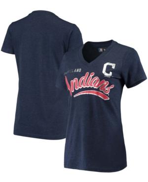 Women's Heathered Navy Cleveland Indians Good Day V-Neck T-shirt