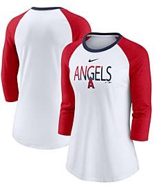 Women's White, Heathered Red Los Angeles Angels Color Split Tri-Blend 3/4 Sleeve Raglan T-shirt