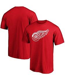 Men's Red Detroit Red Wings Team Primary Logo T-shirt