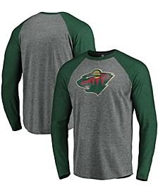Men's Heathered Gray and Heathered Green Minnesota Wild Team Tri-Blend Raglan Long Sleeve T-shirt
