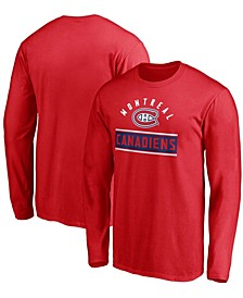 Men's Big and Tall Red Montreal Canadiens Team Arc Knockout Long Sleeve T-shirt