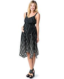 Jessica Simpson Maternity Dot-Print Handkerchief-Hem Dress