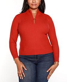 Black Label Plus Size Ribbed Mock Neck Half Zip Sweater