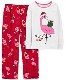 Little Girls 2-Pc. Snug Fit Flamingo Cotton Top & Fleece Bottom Pajama Set