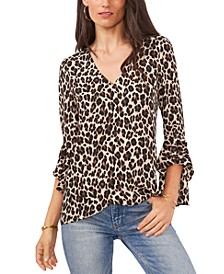 Tiered-Sleeve Leopard-Print Top
