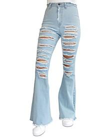 Juniors' Super High Rise Flare Jeans