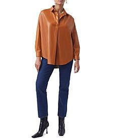 Crolenda Faux-Leather Top