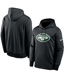 Men's Black New York Jets Fan Gear Primary Logo Therma Performance Pullover Hoodie