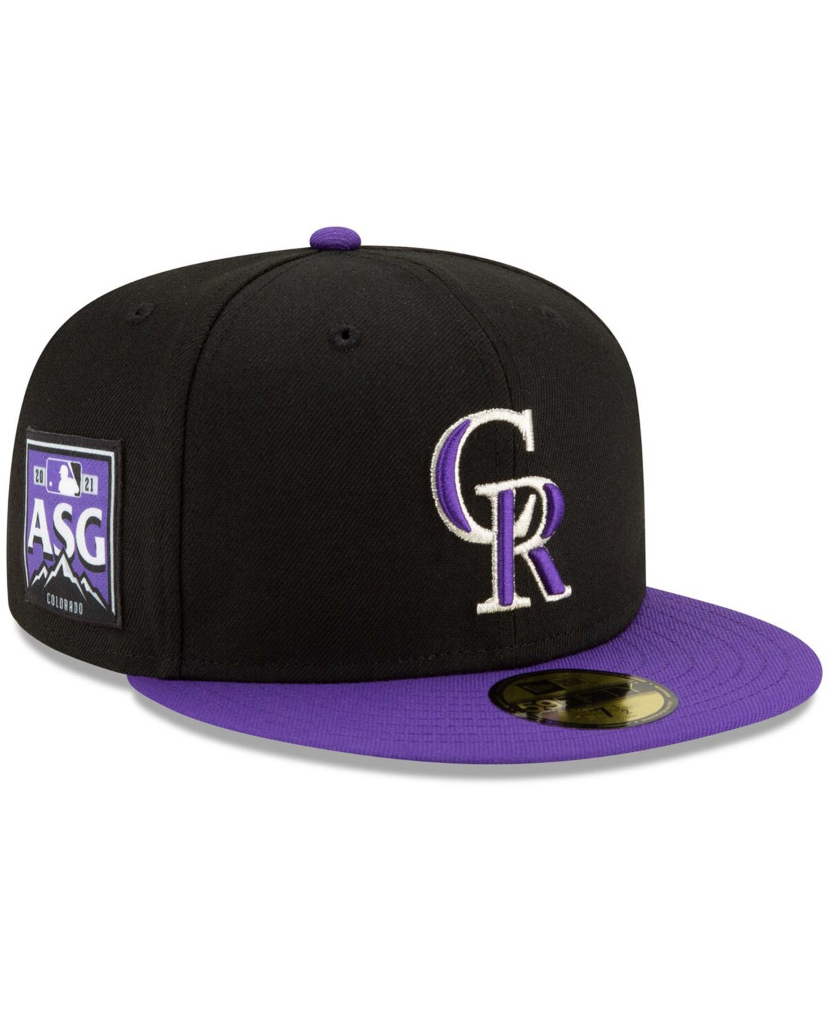 Men's Black, Purple Colorado Rockies 2021 Mlb All-Star Game Authentic Collection On-Field 59FIFTY Fitted Hat