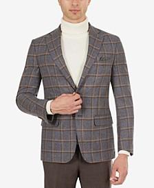 Men's Slim-Fit Gray & Tan Windowpane Sport Coat
