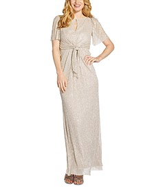 Tie-Front Glitter-Knit Gown